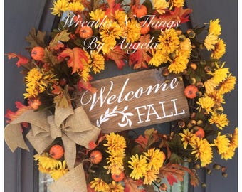 Large Welcome Fall Grapevine Door Wreath