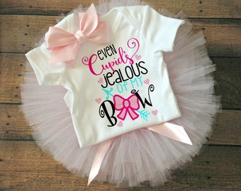valentines day gift, cupids jealous of my bow, first valentines day, baby girl valentines outfit, valentines day baby, toddler valentines