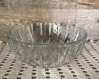 Glass Serving Bowl Vintage Pressed Clear Glass