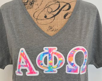 Greek letter shirt etsy for Lilly pulitzer sorority letters