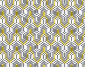 Emma & Mila Fretwork Geometric Grey White Yellow on Cotton by the Yard
