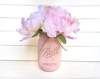 Flower Pen Set - Pink Mason Jar with Light Pink Blush Peony Flower Pens Distressed Rustic Shabby Chic Gift for Her Nursery