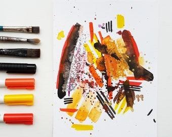 Fox 1 - abstract mixed media artwork