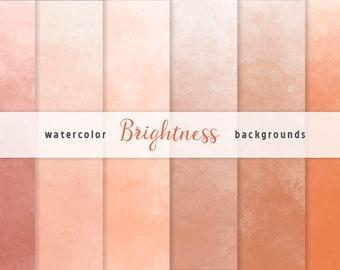 Orange Ombre Watercolor Digital Paper Set, 6 Digital Backgrounds, Scrapbooking, crafts, invitations, digital scrapbooking