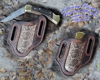 Buffalo and Rattle Snake Knife Sheath.... Buck 110 and other large folding knives