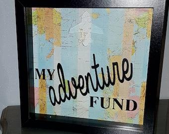 Our adventure fund, Wandelust,Money Box frame, travel,Saving fund, family fund, Adventure fund box frame, birthday gift, box frame