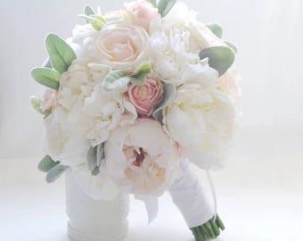 Handmade Natural Wedding real to touch Rose Bouquet- Bridal Bridesmaid Bouquet, Rustic Wedding, Alternative Bouquet, Keepsake Bouquet