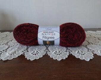Wool scarf-Burgundy orange ruffles Ribbon