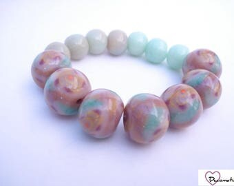 14 green polymer clay beads