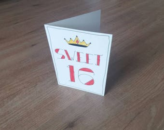 Greeting Card Sweet 16 with Crown