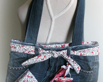 Recycled denim zipped and lined bag