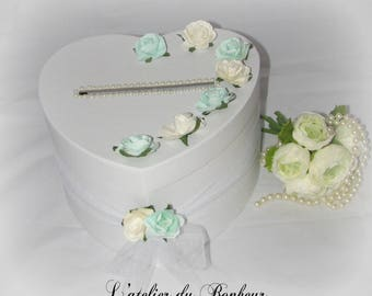 "Pink and gray wedding urn ""shabby chic"" for wedding anniversary retirement"