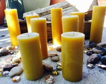 """100%Pure beeswax candle-scented or unscented-pillar candles-beeswax candles-2"""" diameter pure beeswax candle-beeswax pillar candle. 3""""-15"""""""