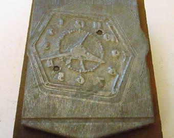 Vintage GE General Electric Bank Clock Print Block Printer's Block Newspaper Advertising Stamp Wood & Metal