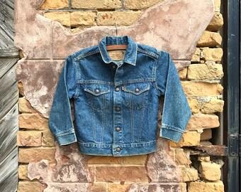Vintage Orange Tab Dark Wash Levi's Denim Jacket | 1970's Levis Jacket | Childrens | 6 | 7
