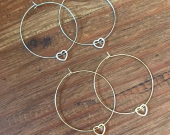 Valentines Day Gift Heart Hoop Earrings Thin Silver Gold Hoop Earring Heart Charm Boho Pierced Earring Bridesmaids Jewelry Delicate Hoops