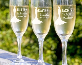 Champagne Flutes - Bridesmaids Flutes - 11 Toasting Glasses - Champagne Glasses - Personalized Flutes- Rehearsal Dinner - Be My Bridesmaid