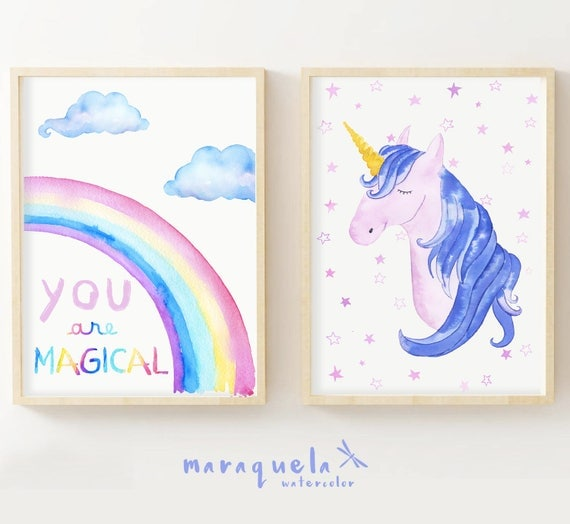 UNICORN and RAINBOW, Set 2 illustrations for kids and baby, newborns. Art prints, Pink hues, magic world, unicorns decoration, girl's room