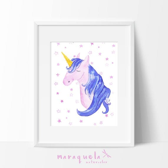 UNICORN watercolor illustration, pink and violet shades, for kids and baby. Nursery art, Colorful hues art, baby girl room, baby shower, art