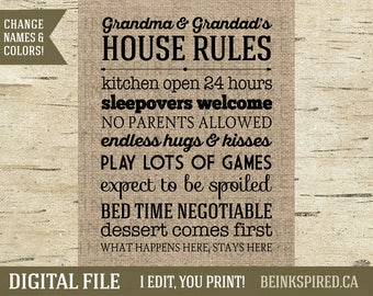 Personalized Grandparent Rules, Grandparent Gift, Grandparent Sign, Gift for Grandma, Gift for Grandad, Burlap, House Rules, DIGITAL FILE