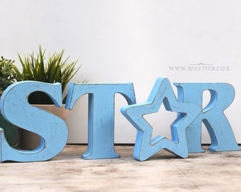 STAR free standing wooden letters | nursery letters | STAR wood letters | standing letters