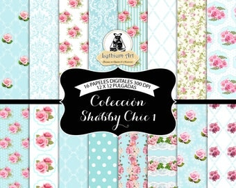 Shabby Chic Digital Paper, Shabby Chic Paper,Floral Vintage Scrapbook Paper,Floral Printable Paper,Instant Download,Scrapbook,Digital, Roses