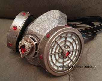 Steampunk Respirator Dust Mask for Burning Man, Festivals, Halloween, Post-Apocalyptic Mask Pale Rose Gold Dust Mask Rhinestone Crystal Mask