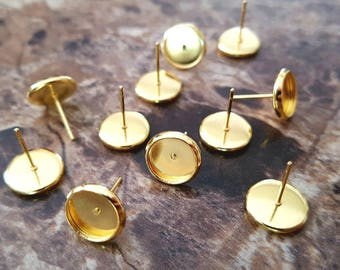 20pcs 8mm Bezel Gold Plated Cabochon Setting Stud Earring Blank Cabochons Kawaii Earrings Metal Ear Nuts Jewelry Supply DIY Supplies