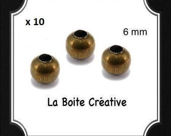 10 round beads 6 mm INTERCALAIRES in METAL BRONZE