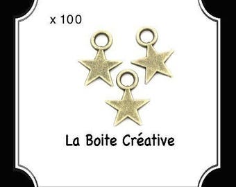 100 CHARMS BRONZE METAL STAR