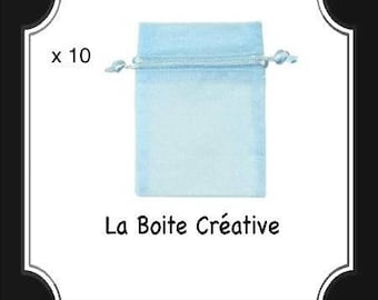 10 POUCHES ORGANZA blue POUCH gift wrapped 7 x 9 cm