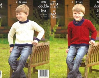 King Cole Knitting Pattern 4023~Cabled Sweaters~DK~24-32""