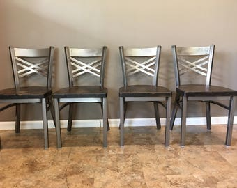 Reclaimed Dining Chair| Set of 4 | In Gun Metal Gray Metal Finish |  X  Back Metal | Restaurant Grade -18 Inch High Dining Chair