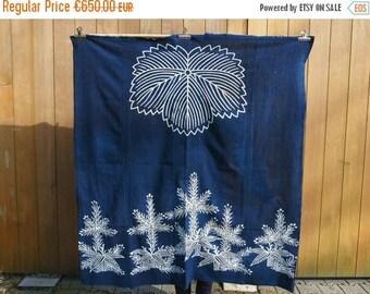 2nd ANNIV SALE Japanese Vintage / Antique Large Boro Repaired Tsutsugaki Indigo Cotton Futon Cover or Froshiki Family Crest Tsuta / Ivy Folk