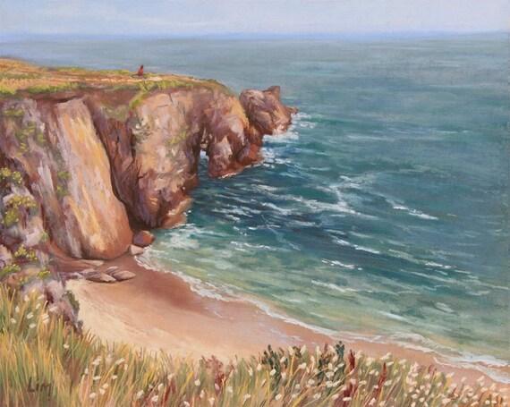 Peinture au pastel sec d 39 une plage bretonne paysage - Peinture au pastel sec ...