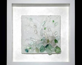 Mist ~ Floating Coastal Sea Spray Fused Unique Glass Wall Art Sea Glass Art Framed Sculpture Ocean Coastal Decor Fine Art by May Waynorth