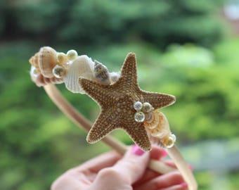 Flower Girl Starfish Shell Hairband / Destination Wedding / Starfish Headband