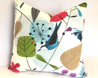 "Scandinavian Pillow |  Mid Century Pillow | Bird Pillow | Spring Pillow | Throw Pillow | Pillow Cover Only 18x18"" or 16""x16"""