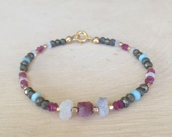 Raw Pink Tourmaline, Moonstone, and Pyrite Beaded Stacking Bracelet