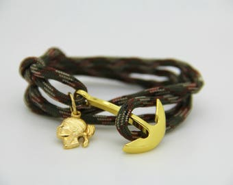 Full-bodied anchor and Paracord Bracelet.