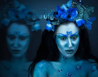Blue floral butterfly headdress