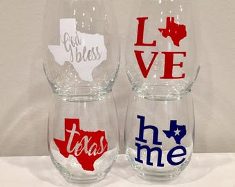 State of Texas wine glass set