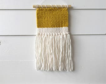 Weaving, wall hanging, woven wall art, fiber art, tapestry, minimal