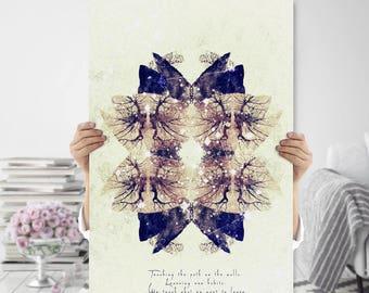 Boho Art Printable - Boho Wall Decor - Kaleidoscope Print - Abstract Tree Art - Meditation Art - Digital Download - Indie Home Decor
