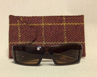 Welsh tweed wider glasses/spectacles/sunglasses case in dark red herringbone, with yellow & green check