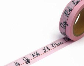 Pink Washi Tape Alphabet Design - Sale Washi Tape - Cursive Letters Masking Tape 10m x 15mm