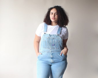vintage plus size distressed overalls, size 12-14