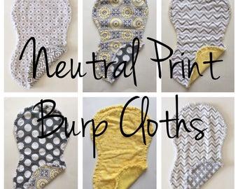 Neutral Print Burp Cloths