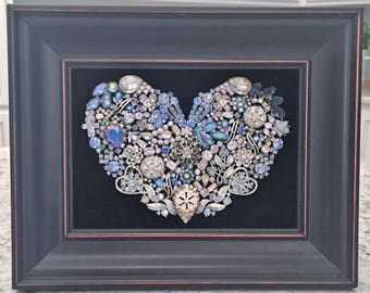 I Love You More! Framed Heart Handmade with Vintage/Costume Jewelry