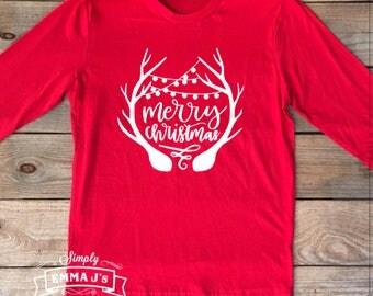 Merry Christmas, deer antlers, Christmas shirt, women's shirt, holiday shirt